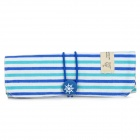 TW-01 Fashion Strip Pattern Canvas Roller Organizer Pen Bag - Blue + White
