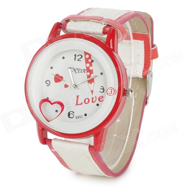 A852 Cute Round Dial PU Leather Quartz Wrist Watch - Red + White (1 x 377)