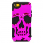 3D Skeleton Protective Silicone + TPU Back Case for Iphone 5C - Purplish Red + Black
