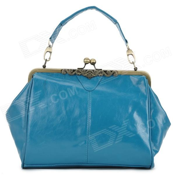 086 Europe Retro Style PU Messenger Shoulder Bag - Blue