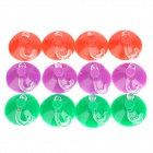YWHX 3-Color Plastic Suction Cup Hooks (12 PCS)