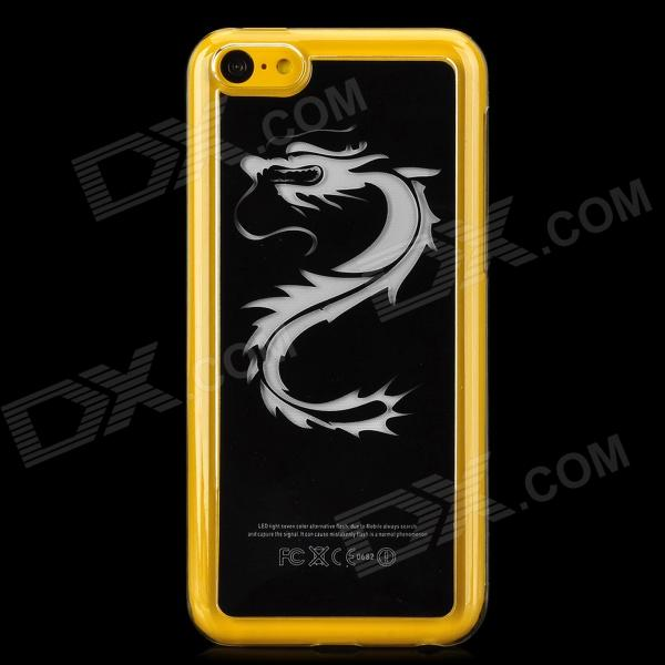 Protective Dragon Pattern Plastic Case w/ LED Flash Light for Iphone 5C - Transparent + Black protective led flash light tpu case for iphone 5 5s transparent yellow green