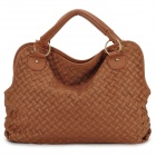 Hand Woven Chain Shoulder Bag for Women - Brown