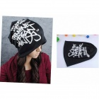 Stylish Alphabet Pattern Cap Hat - Black + White
