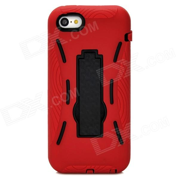 все цены на Protective Silicone + TPU Back Case w/ Stand for Iphone 5C - Deep Red + Black онлайн