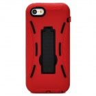 Protective Silicone + TPU Back Case w/ Stand for Iphone 5C - Deep Red + Black