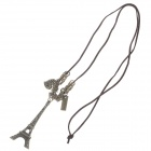Retro Eiffel Tower Pendent Sweater Necklace - Bronze + Brown