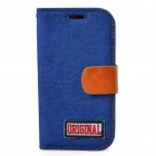 Protective PU Leather + Denim + TPU Case Cover Stand for Samsung Galaxy S3 i9300 - Deep Blue + Brown