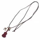 Fashionable Wooden Guita Style Necklace for Women - Reddish Brown + Brown