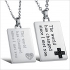 GX841 Rectangle Pendant Titanium Steel Couple's Necklace - Silver + Black (2 PCS)