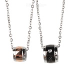 GX843 Nice Wheels Pendant Titanium Steel Couple's Necklaces - Silver + Black + Golden (2 PCS)