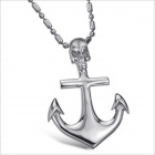 GX378 Fashionable Personality Anchor Cross Skull Necklace - Silver