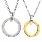 GX350 Lock Our Love Titanium Steel Couple's Necklaces - Golden + Silver (2 PCS)