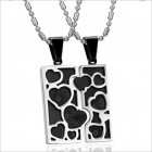 GX733 LOVE Puzzles Titanium Steel Couple's Necklaces - Black + Silver (2 PCS)