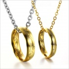 GX826 Beautiful Lord Of The Rings Titanium Steel Couple's Necklaces - Golden (2 PCS)