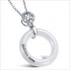 Aesthetic Circular Pendant Women's Ceramic Necklace - White + Silver