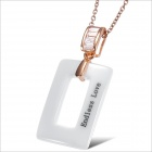 Personality Rectangular Rose Gold Buckle White Ceramic Women's Necklace - White + Golden
