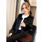 Stylish Women's Velvet Inlay Fur Coat - Black (Free Size)