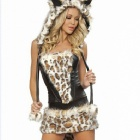 CCC Leopard European and American Fashion Women's Sexy Stage Performance Clothing - Brown + White
