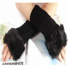 Stylish Women's Half-Finger Cashmere Gloves - Black (Free Size)