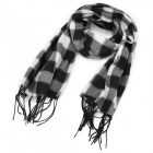 Casual Square Pattern Woolen Scarf - Black + White
