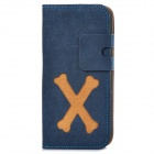Cartoon Bone Style Protective PU Leather + Plastic Case for Iphone 5 - Dark Blue + Brown