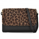 1117 Fashion Leopard Horsehair PU Shoulder Bag Hand Bag - Black + Brown