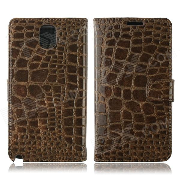 Crocodile Pattern Protective PU Leather Case w/ Card Slots, Holder for Samsung Galaxy Note 3 - Brown oracle style protective pu leather case w card holder slots for samsung galaxy note 3 white