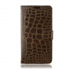 Crocodile Pattern Protective PU Leather Case w/ Card Slots, Holder for Samsung Galaxy Note 3 - Brown