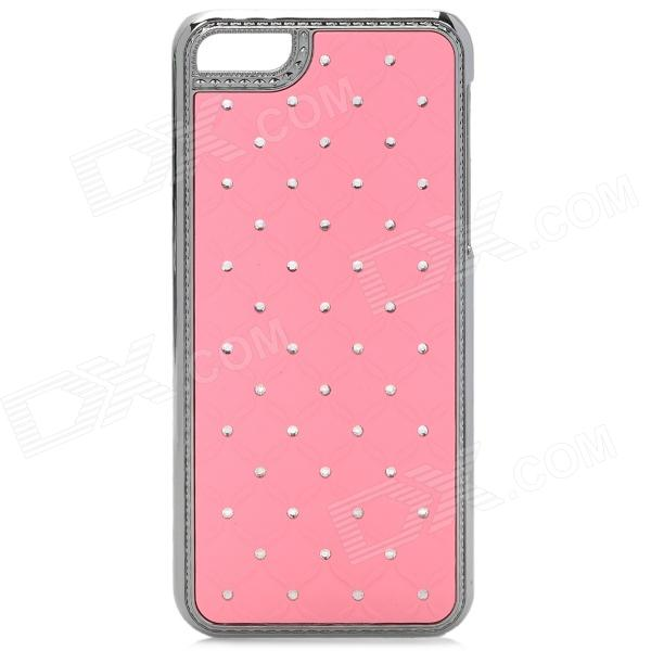 Stylish Rhinestone Plastic Back Case for Iphone 5C - Pink + Silver