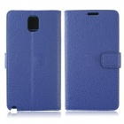 Lychee Pattern Protective PU Leather Case w/ Card Slots, Holder for Samsung Galaxy Note 3 - Blue