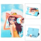"Cartoon Girl Pattern Protective PU Leather Case w/ Stand for Tab 7"" - Blue + Multicolor"