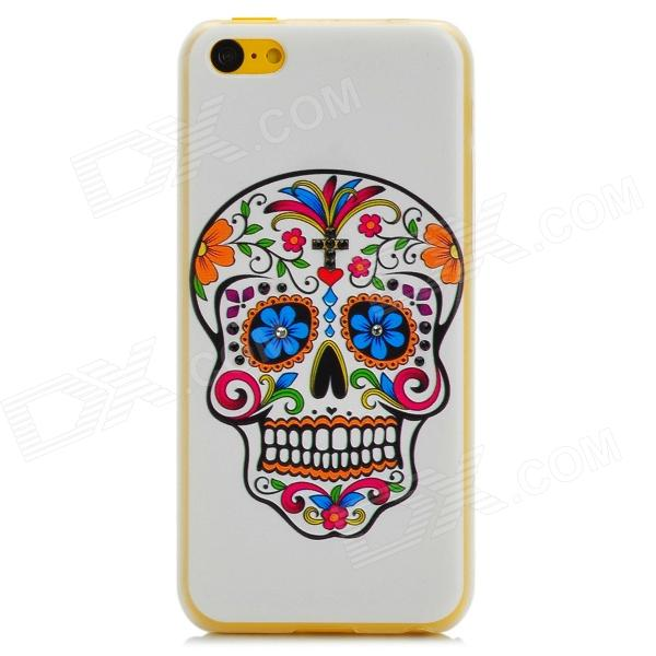 Protective Skeleton Pattern Plastic Back Case for Iphone 5C - White + Multicolor elephant pattern protective plastic back case cover for iphone 6 plus black white multicolor