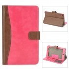 Protective PU Leather Case w/ Card Slots for Google Nexus 7 II - Deep Pink + Brown