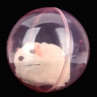 Cute Funny Imitation Hamster Plush Toy Rolling Ball - White + Pink (2 x AAA)