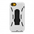 Protective Silicone + TPU Back Case w/ Stand for Iphone 5C - White + Black