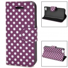 Stylish Polka Dot Pattern Protective Flip Open Case for Iphone 5C - Deep Purple + White