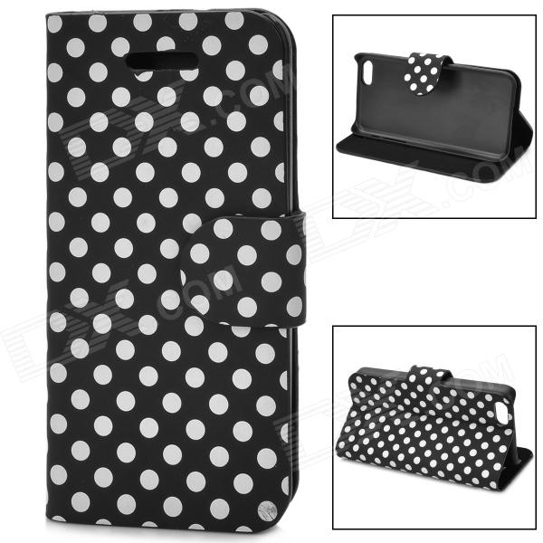 Stylish Polka Dot Pattern Protective Flip Open Case for Iphone 5C - Black + White polka dots pattern pu leather flip open protective case for iphone 5 red
