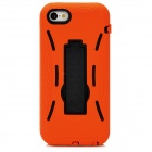Rugged Plastic Silicone + Plastic Back Case w/ Stand Holder for Iphone 5C - Orange + Black