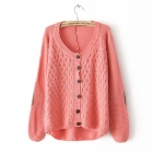 Fashion Women's Knitted Sweaters Clipping leather Cardigans - Pink