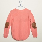 Mode Damen Knitted Pullover Clipping Leder Strickjacken - Pink