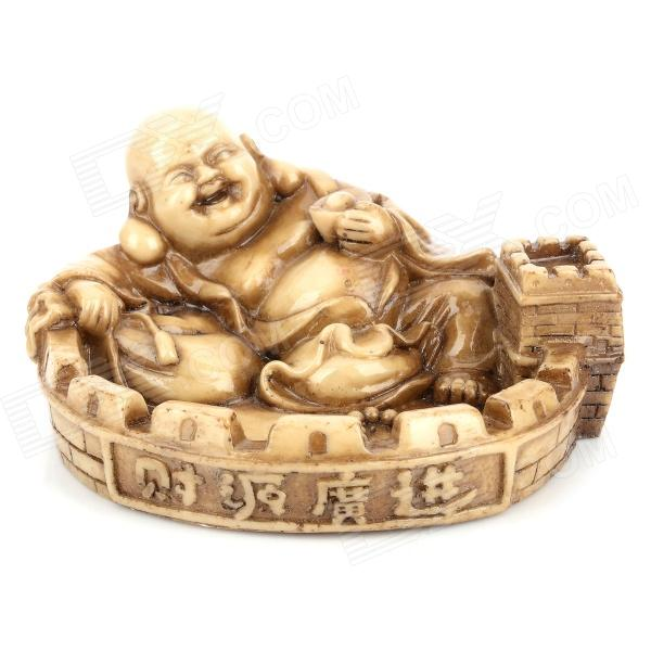 D01XD Unique Maitreya Buddha Style Resin Ash Tray Artwork - Brown 8 china bronze cloisonne eight immortals maitreya buddha censer incense burner d0426
