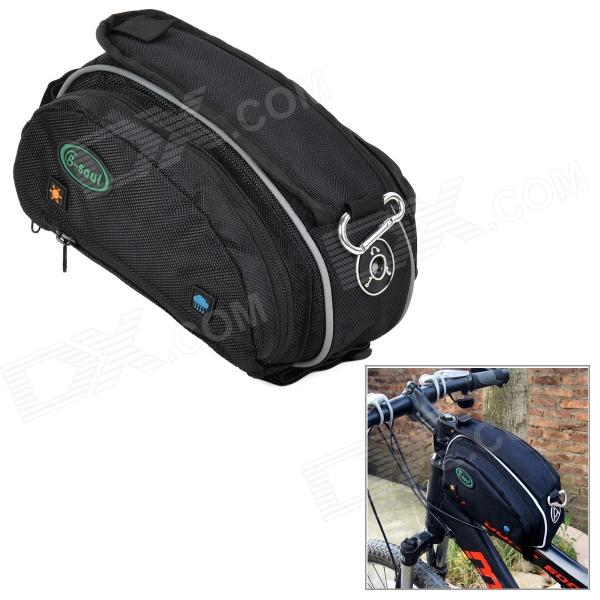 Bicycle Front Tube Bag w/ Water Resistant Cover - Black 2017 bicycle camera bag bike front tube bag bicycle accessories black road mountain large capacity cycle bike backpack bike bag