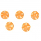 Acrylic Polyhedral Dice for Board Game - Translucent Orange (5 PCS)