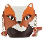 Fox Style PU Leather Shoulder Bag - Brown + White