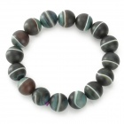 Matte Natural Agate Bead Bracelet - Black