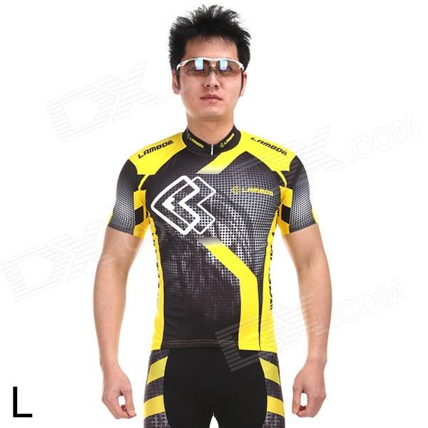 LANBO HH88 Outdoor Cycling Men's Polyester Short Jersey Clothes - Yellow + Black (Size L) arsuxeo ar608s quick drying cycling polyester jersey for men fluorescent green black l