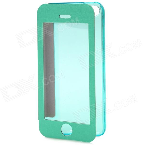 Protective Plastic + PU Leather Flip Case for Iphone 5C - Green - DXLeather Cases<br>Brand N/A Quantity 1 Piece Color Green Material PU Leather + plastic Compatible Models Iphone 5C Other Features With a transparent plastic viewing window for watch incoming ID message etc; Packing List 1 x Case<br>