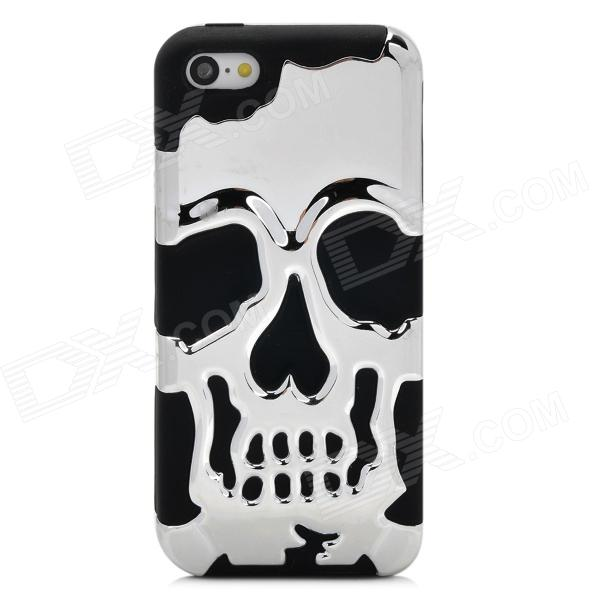 Detachable Skull Protective Silicone + Plastic Back Case for Iphone 5C - Silver + Black protective detachable plastic case for iphone 5 black