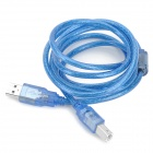 3DA15 USB 2.0 Data Cable for 3D Printer Makerb / Reprap - Silver + Translucent Blue (150cm)